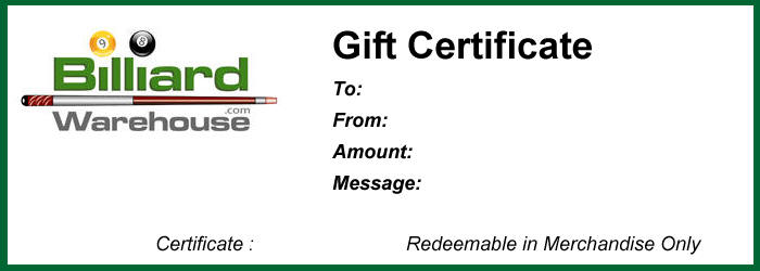Billiard Warehouse Gift Certificates